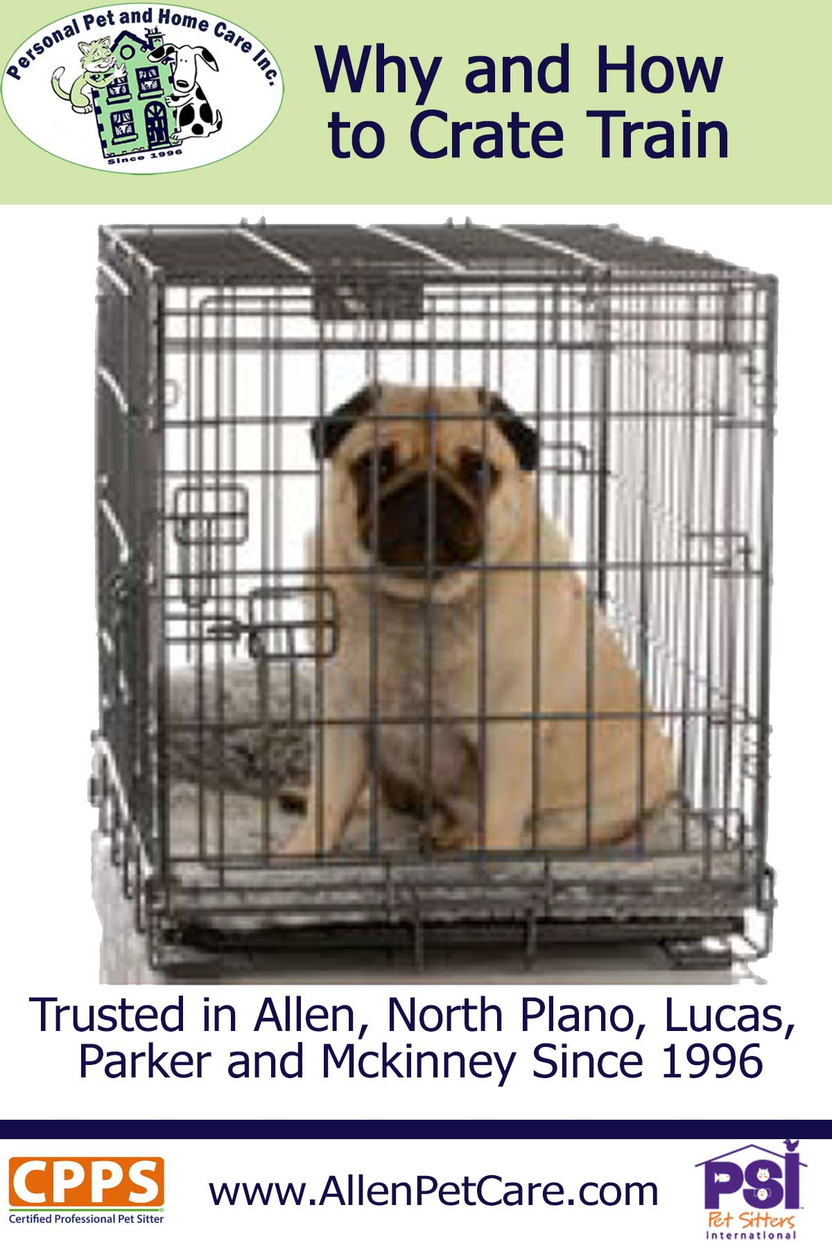 how to crate train your dog and other advice from Personal Pet and Home Care at Allenpetcare.com